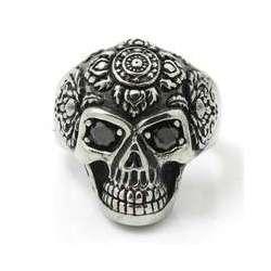 Anillo acero skull rose